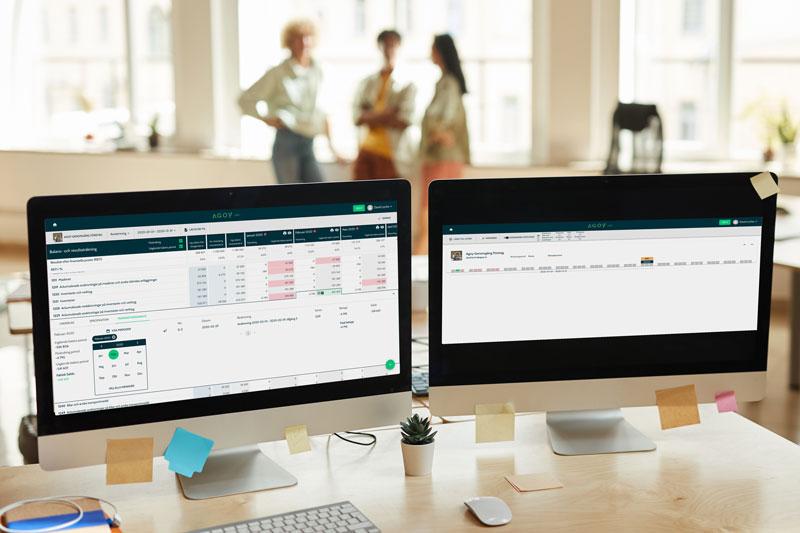 Agoy på datorskärmar i kontor